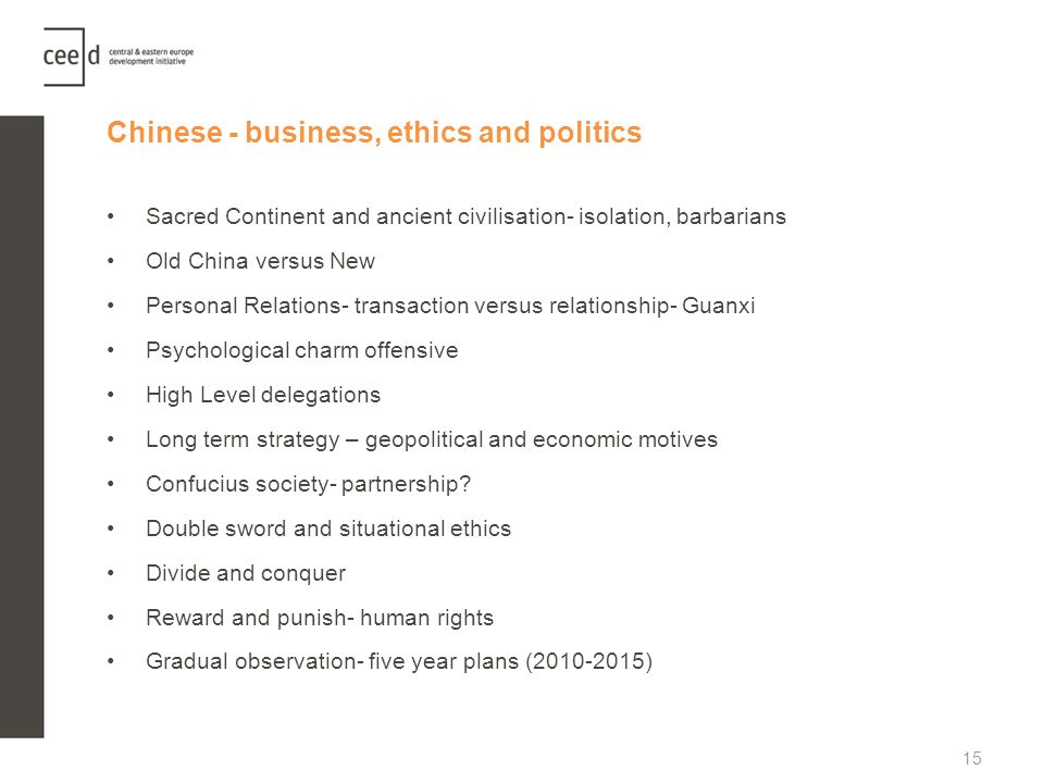 Chinese - business, ethics and politics