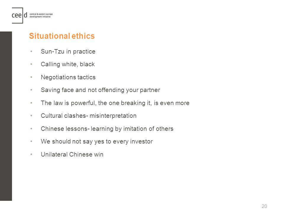 Situational ethics Sun-Tzu in practice Calling white, black