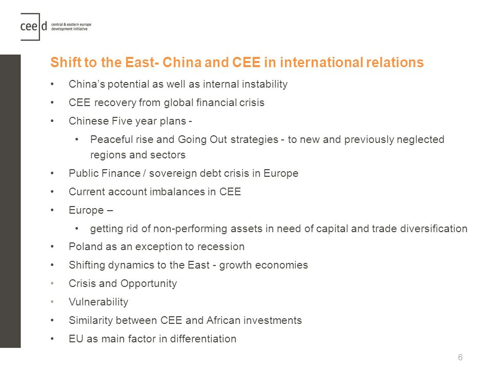 Shift to the East- China and CEE in international relations