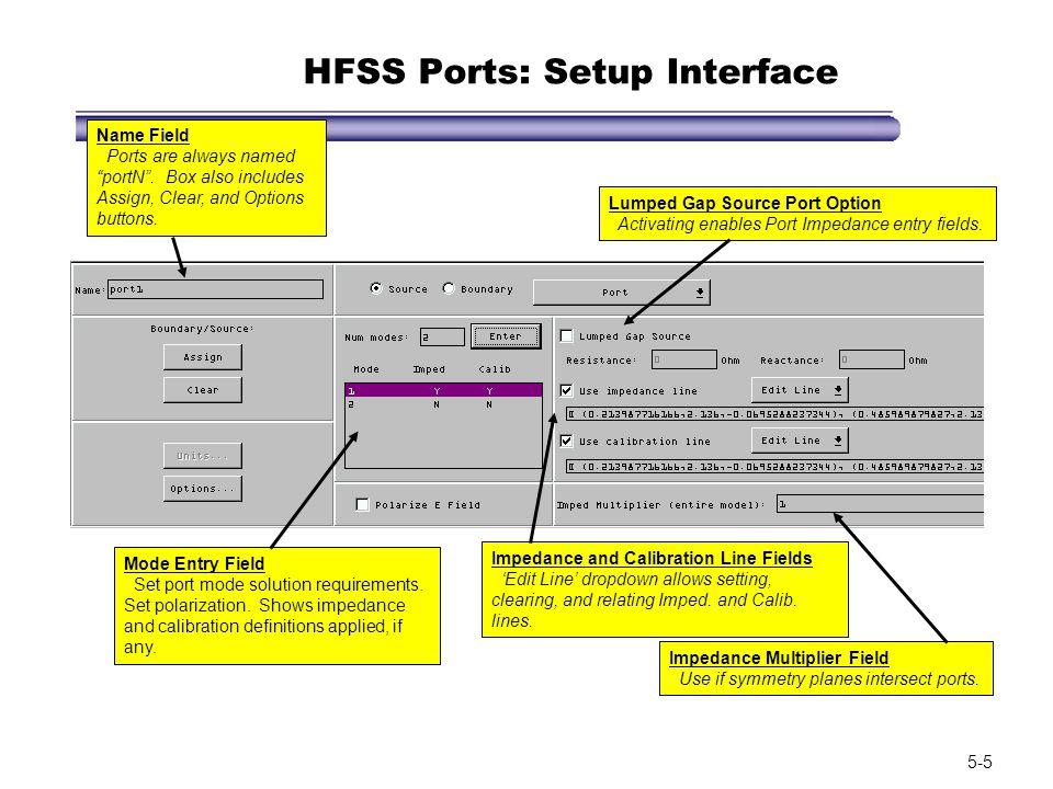 HFSS Ports: Setup Interface
