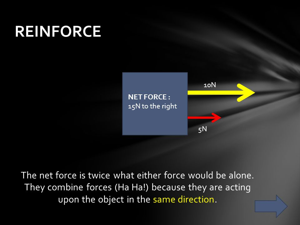 REINFORCE 10N. NET FORCE : 15N to the right. 5N.