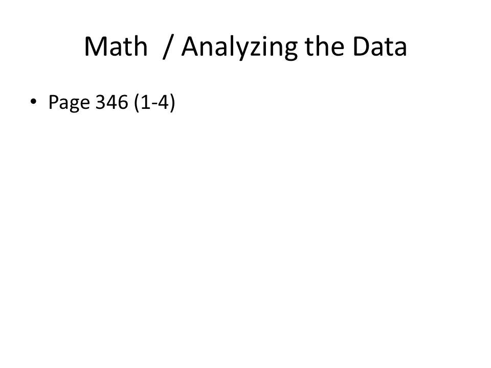 Math / Analyzing the Data