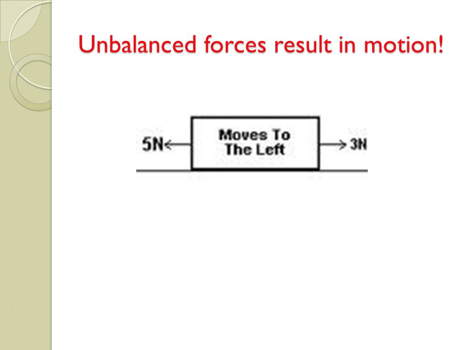 Unbalanced forces result in motion!