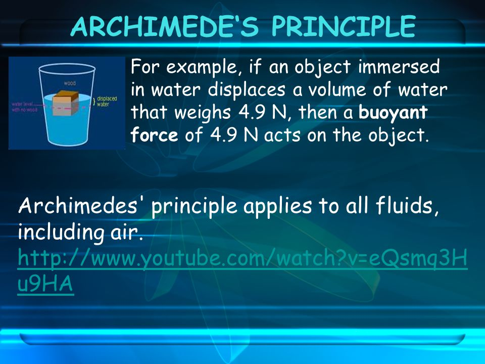 ARCHIMEDE'S PRINCIPLE
