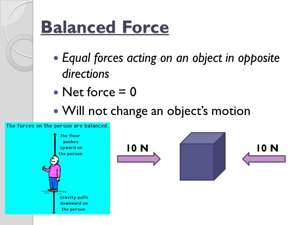 Balanced Force Equal forces acting on an object in opposite directions
