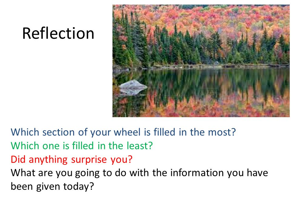 Reflection Which section of your wheel is filled in the most