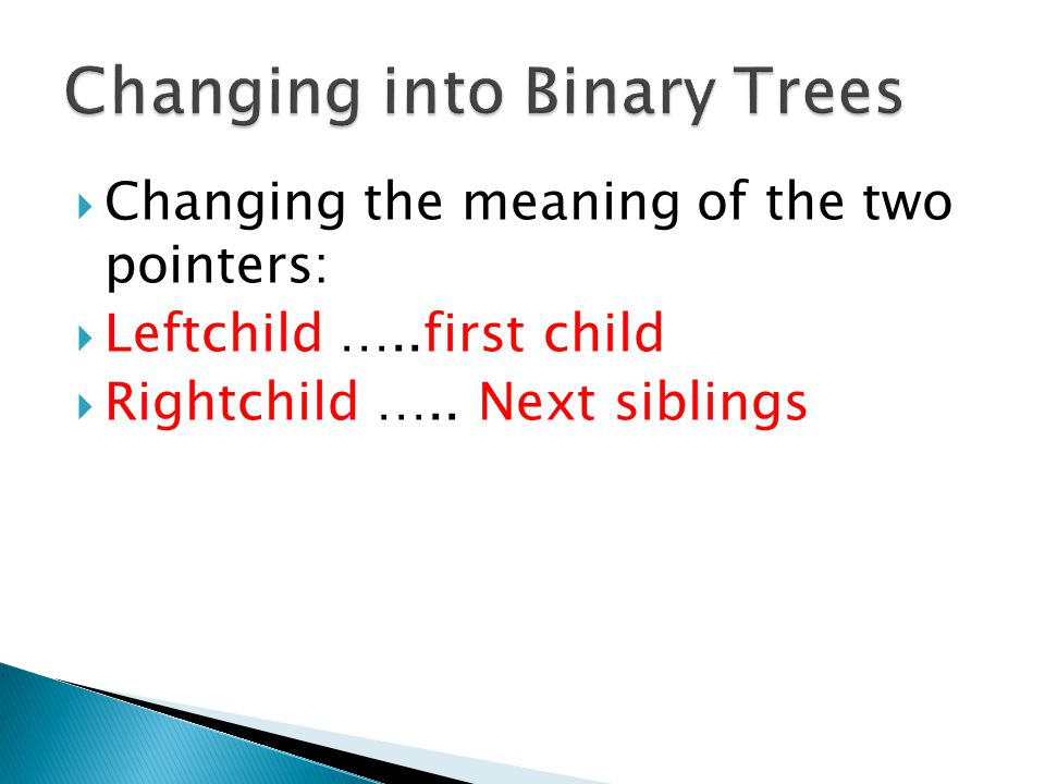 Changing into Binary Trees