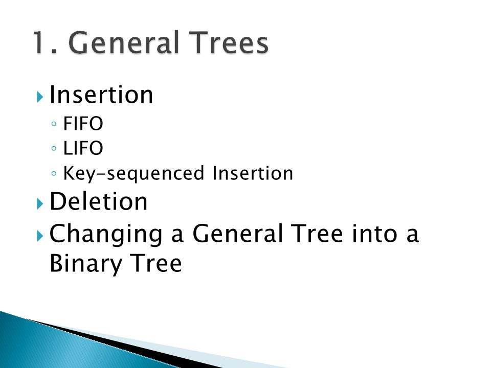 1. General Trees Insertion Deletion
