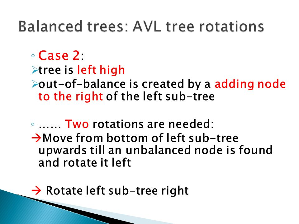 Balanced trees: AVL tree rotations