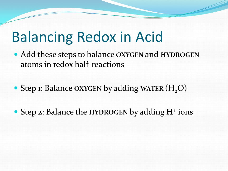 Balancing Redox in Acid