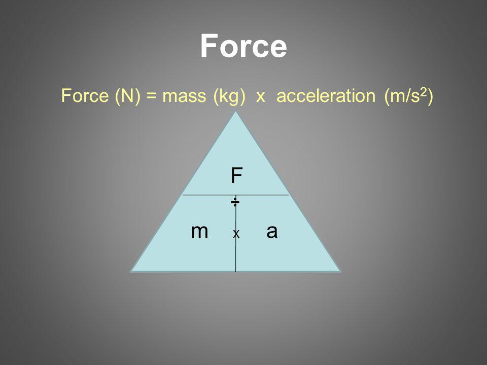 Force Force (N) = mass (kg) x acceleration (m/s2) F ÷ m x a