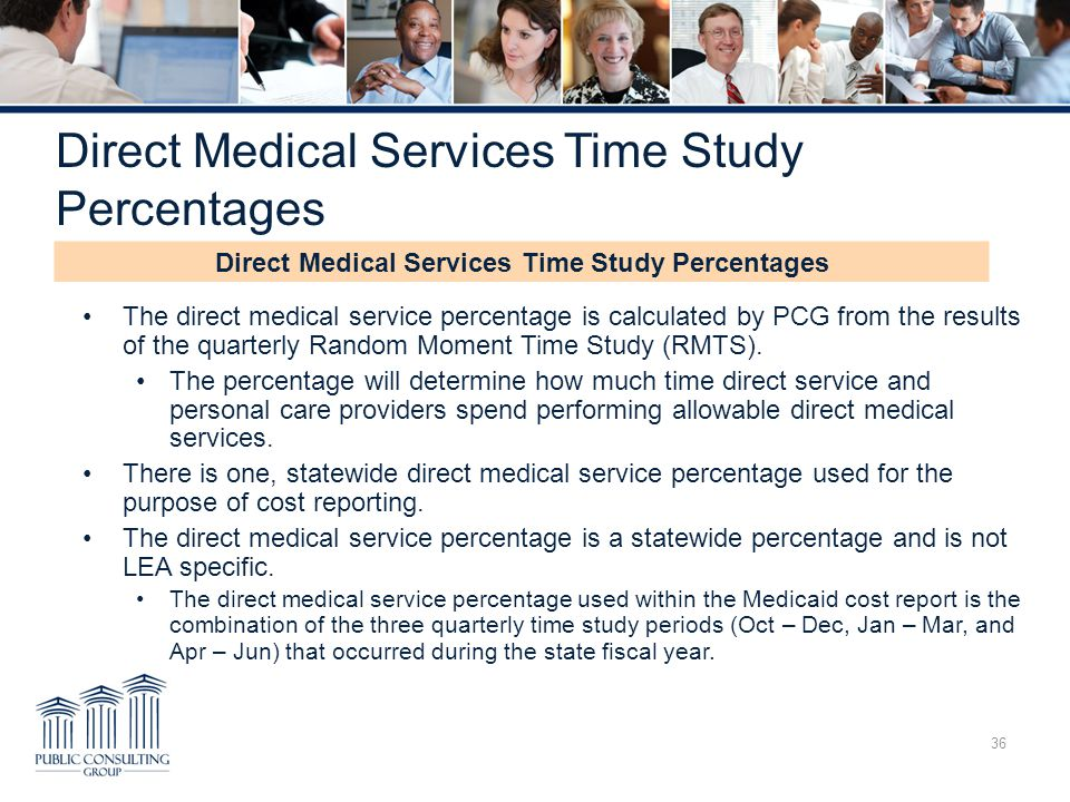 Direct Medical Services Time Study Percentages