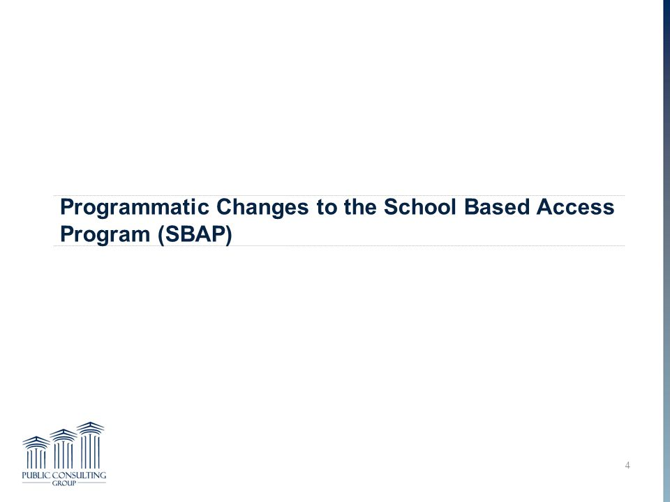 Programmatic Changes to the School Based Access Program (SBAP)