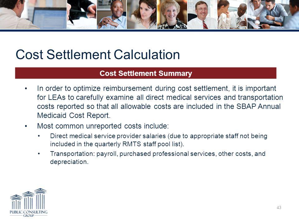 Cost Settlement Calculation