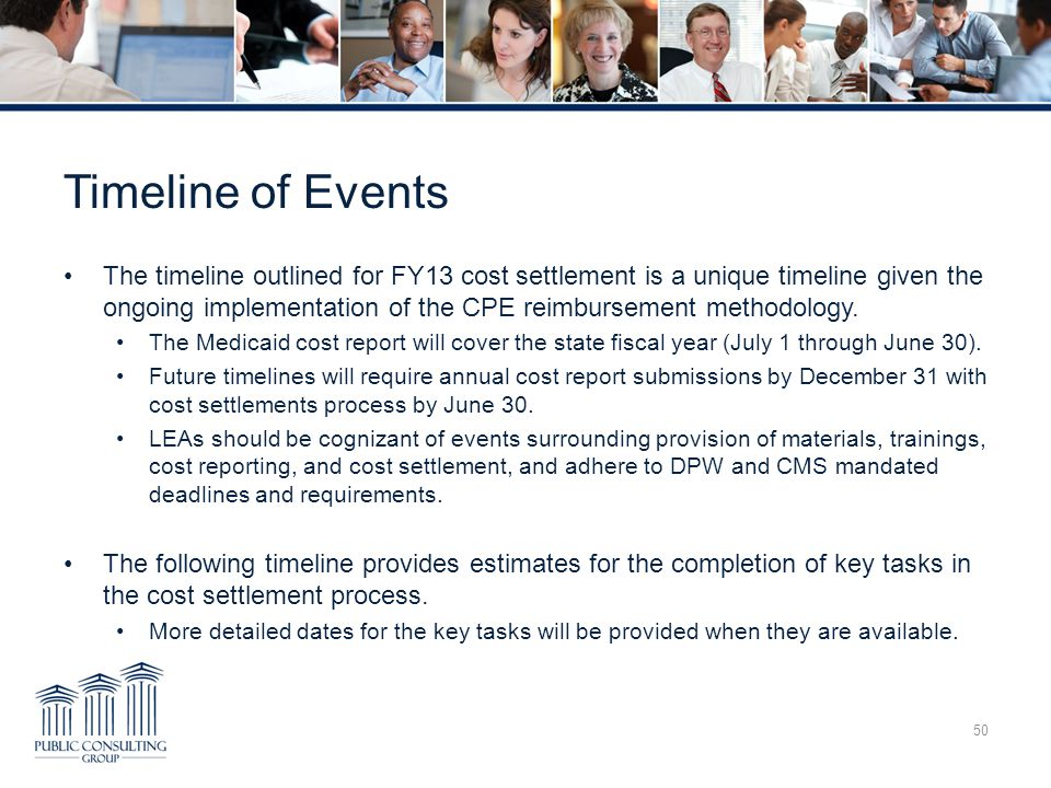 PCG Education Comprehensive Cost Report Training. Timeline of Events.