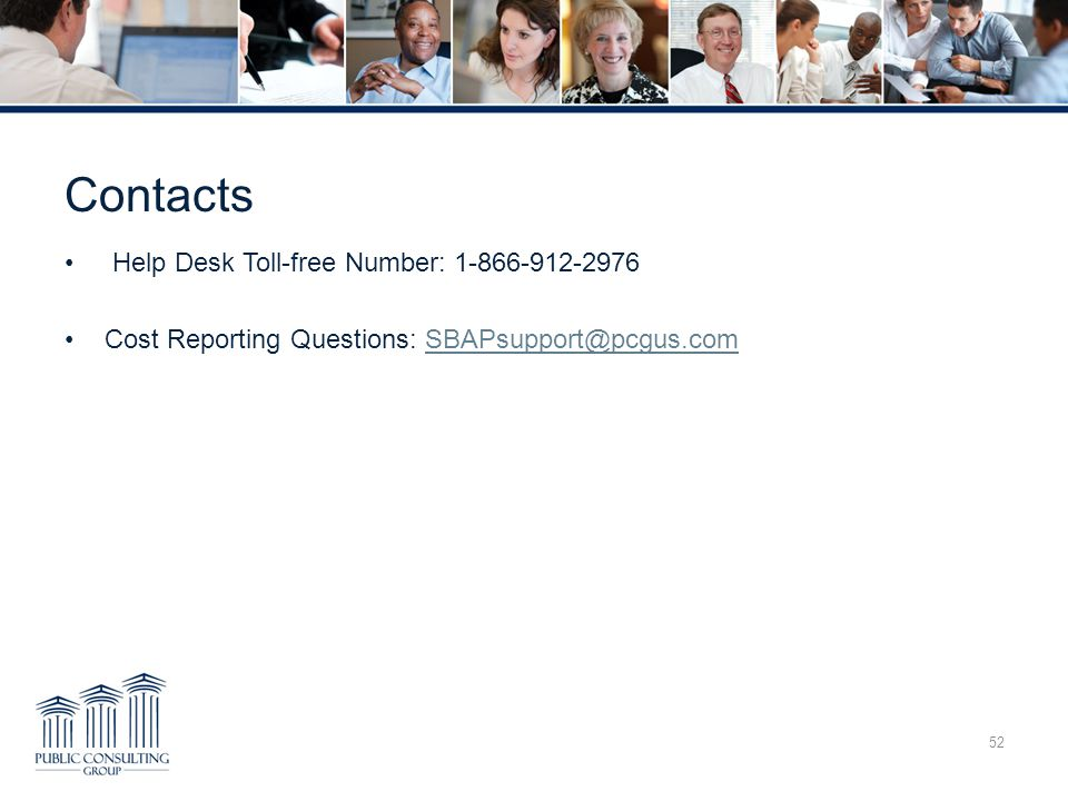 Contacts Help Desk Toll-free Number: 1-866-912-2976