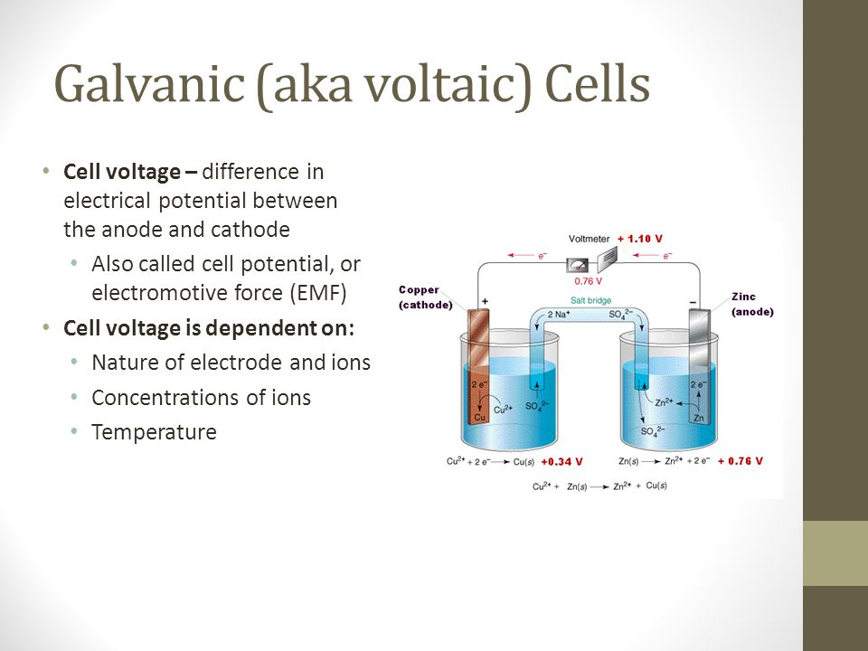 Galvanic (aka voltaic) Cells