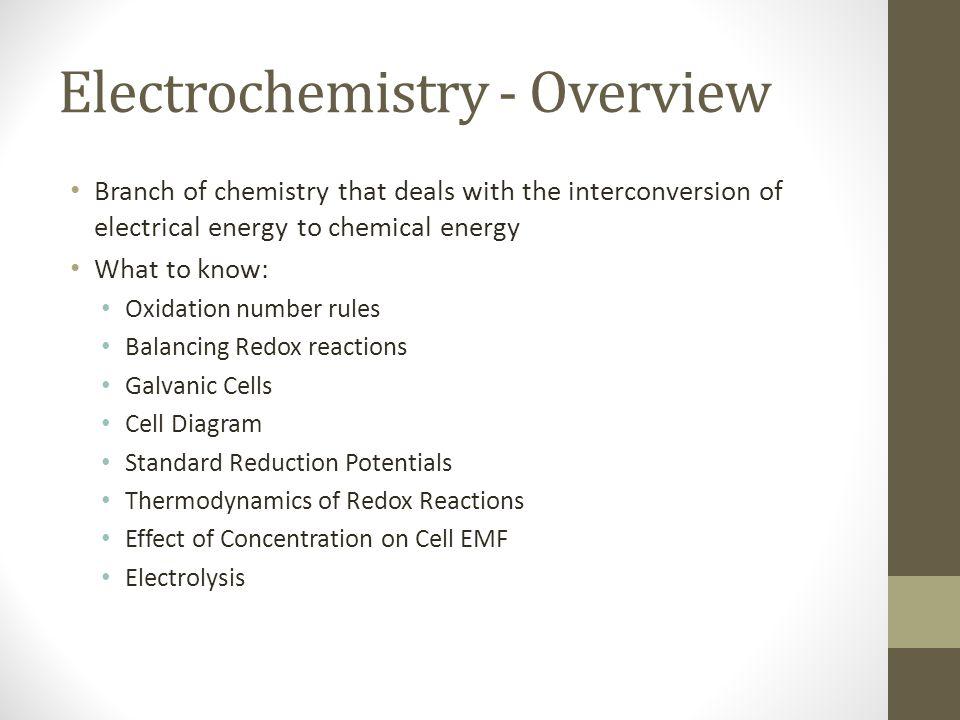 Electrochemistry - Overview