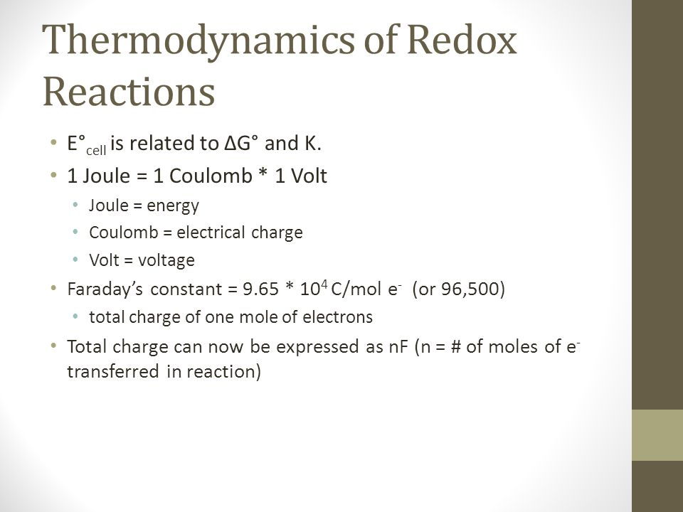 Thermodynamics of Redox Reactions