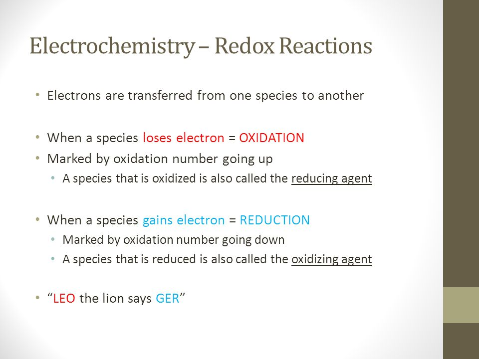 Electrochemistry – Redox Reactions