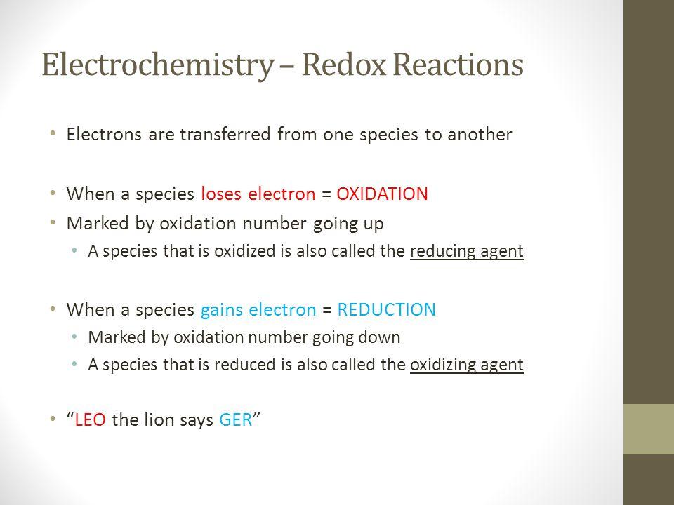 Electrochemistry – Redox Reactions