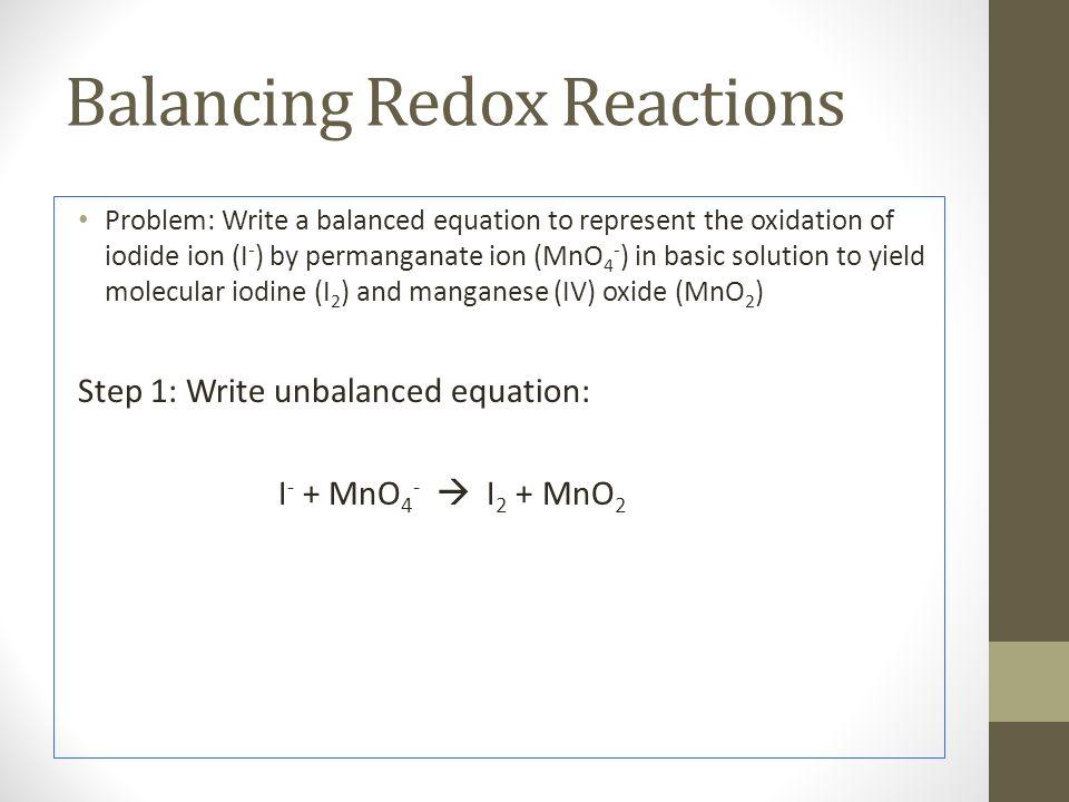 Balancing Redox Reactions
