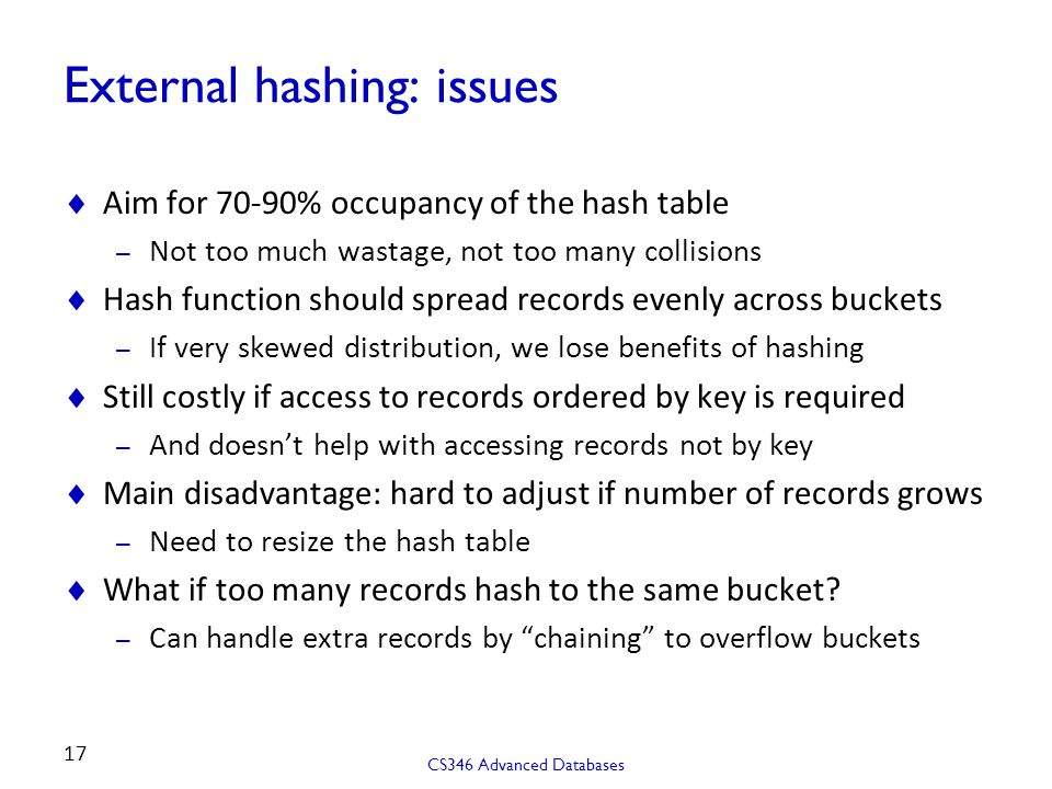 External hashing: issues