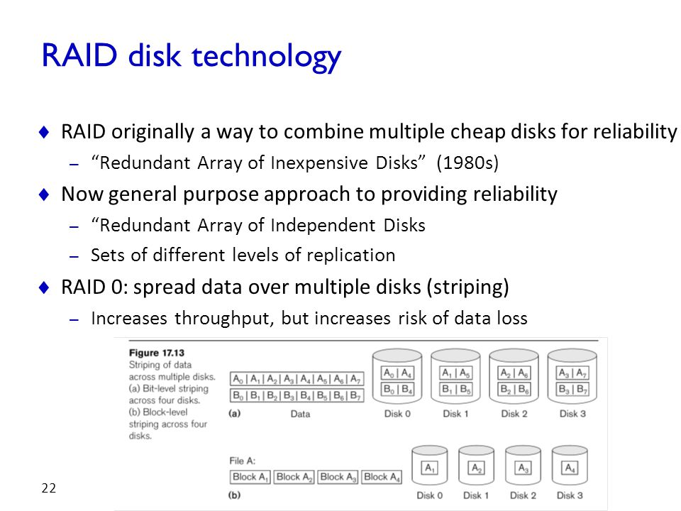RAID disk technology RAID originally a way to combine multiple cheap disks for reliability. Redundant Array of Inexpensive Disks (1980s)