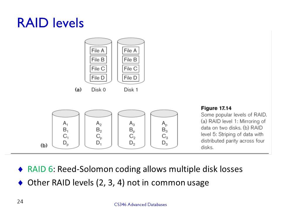 RAID levels RAID 6: Reed-Solomon coding allows multiple disk losses