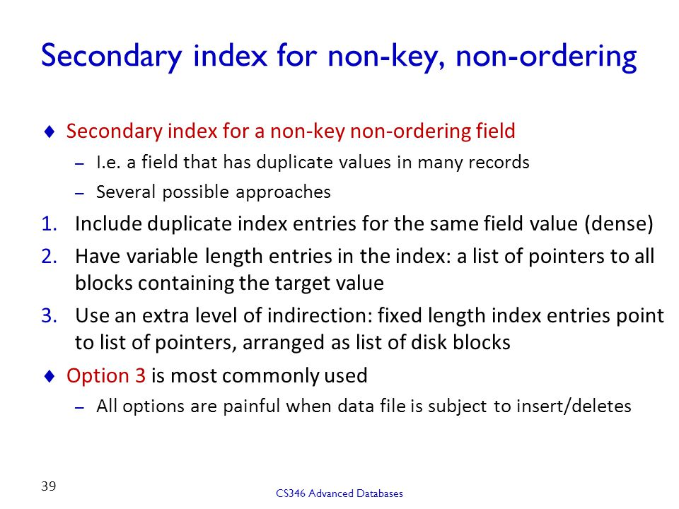 Secondary index for non-key, non-ordering