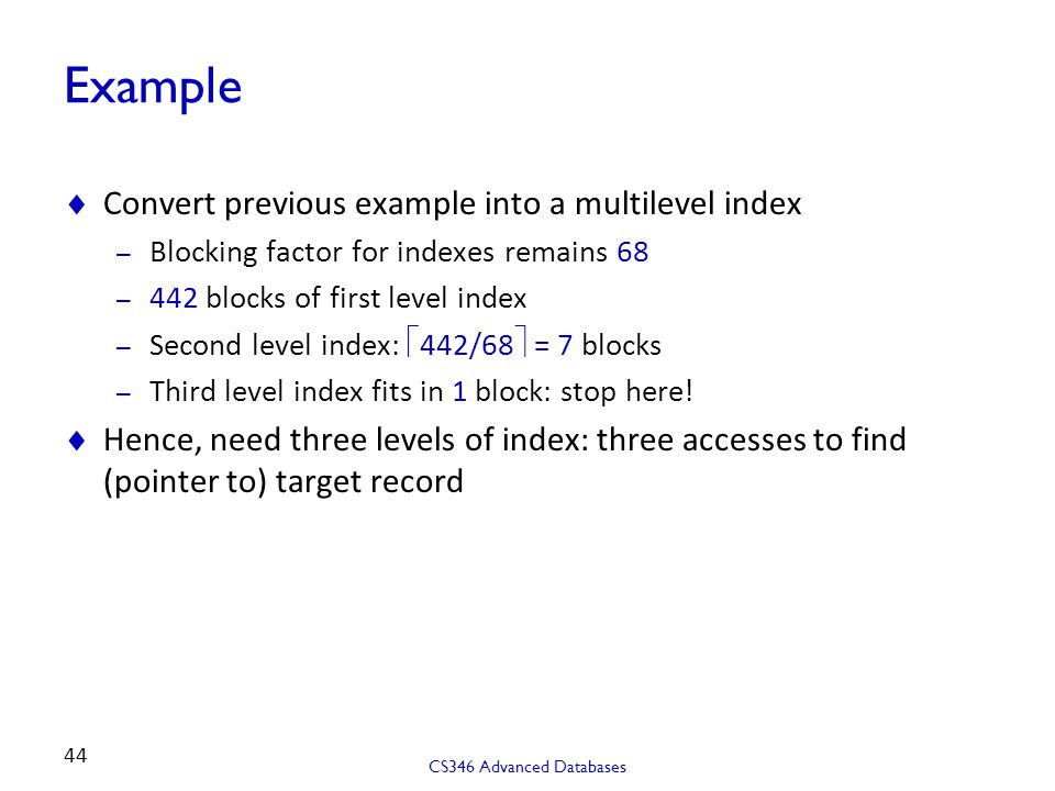 Example Convert previous example into a multilevel index
