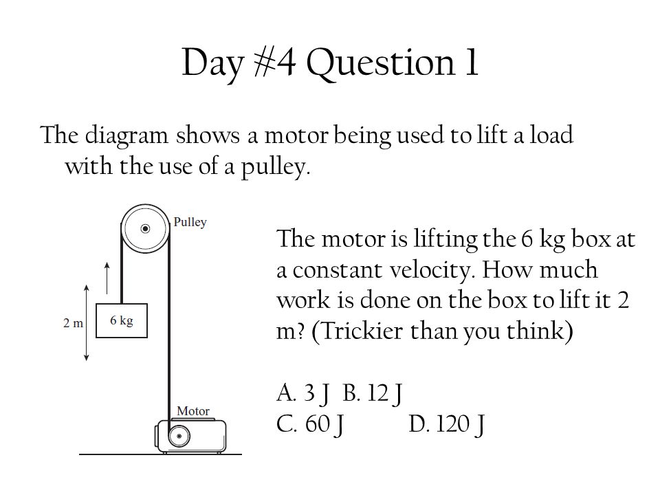 Day #4 Question 1 The diagram shows a motor being used to lift a load with the use of a pulley.