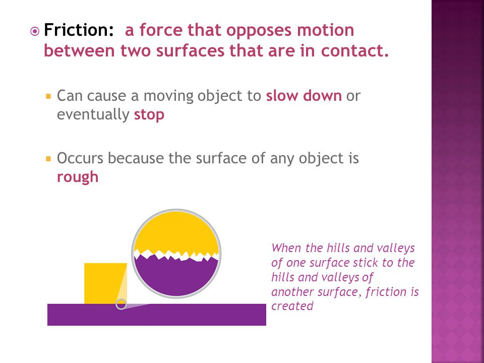 Friction: a force that opposes motion between two surfaces that are in contact.