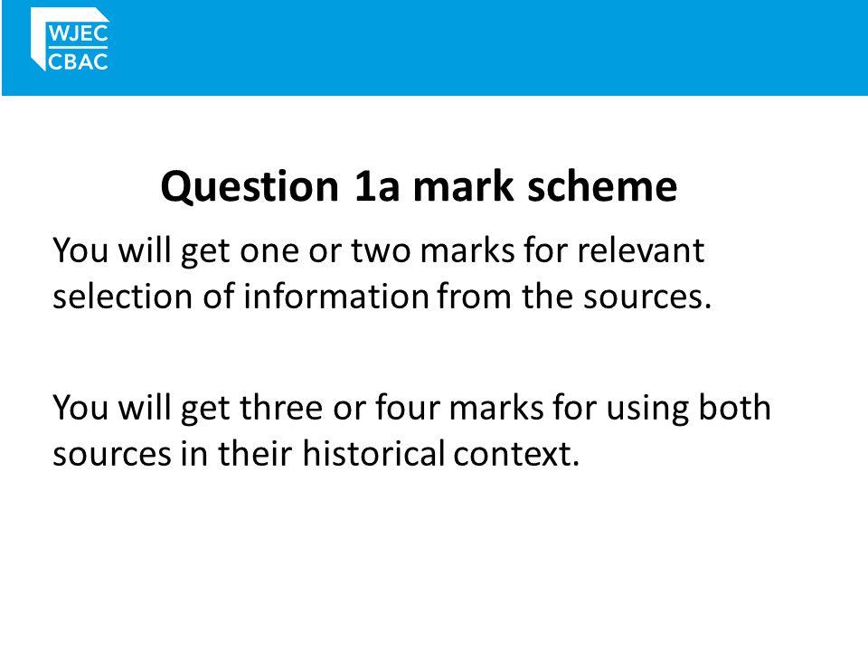 Question 1a mark scheme