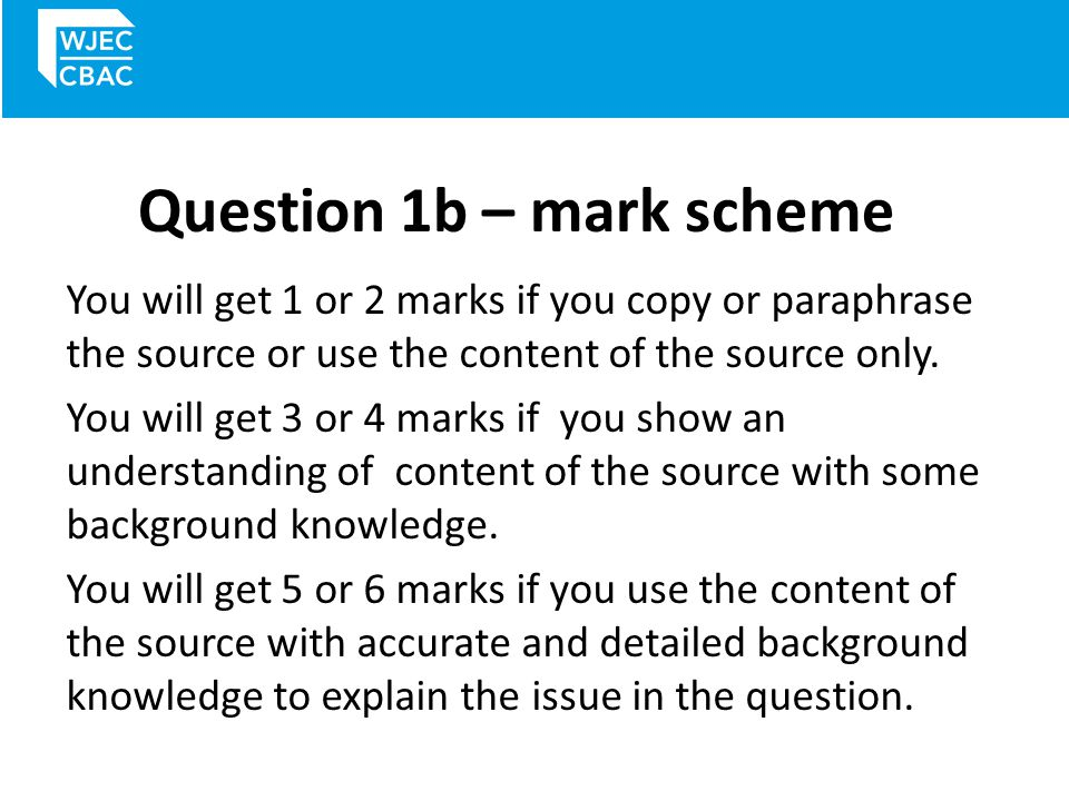 Question 1b – mark scheme