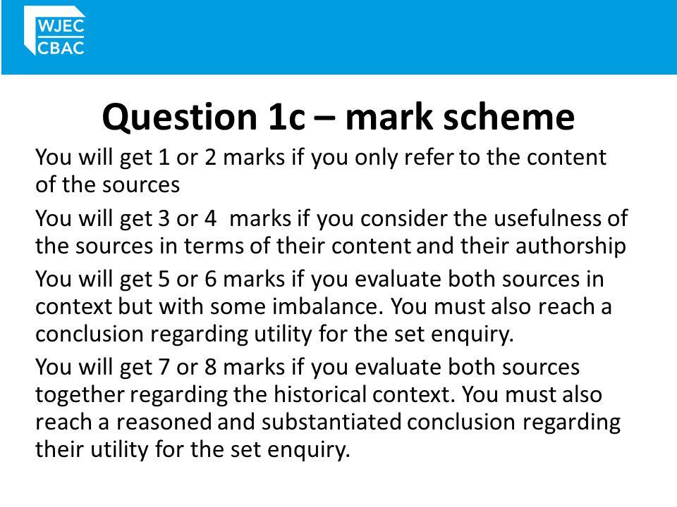 Question 1c – mark scheme