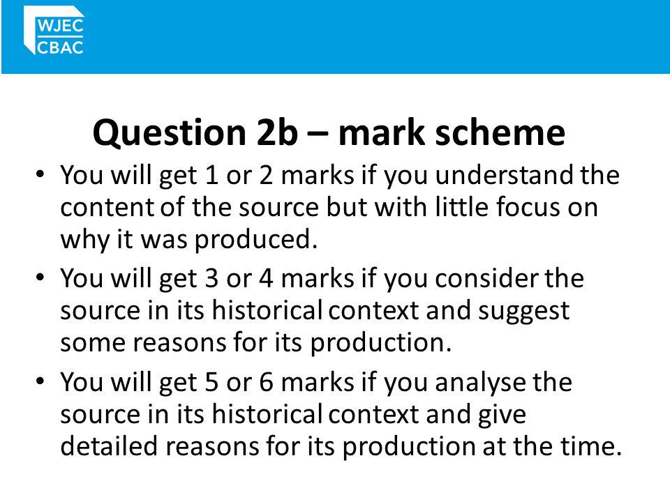 Question 2b – mark scheme