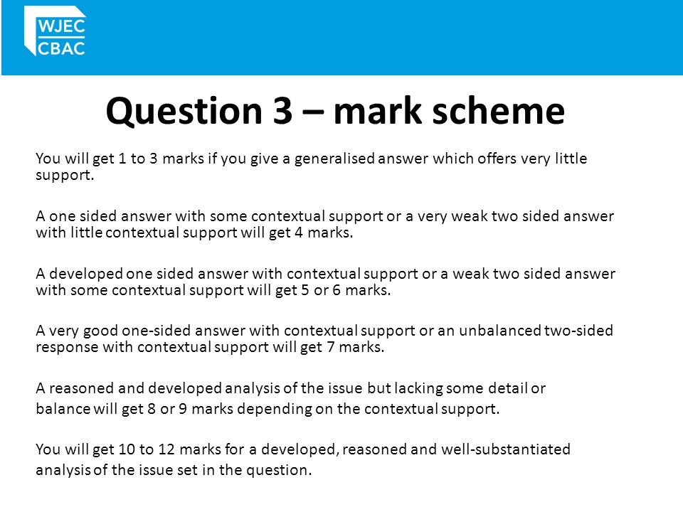 Question 3 – mark scheme