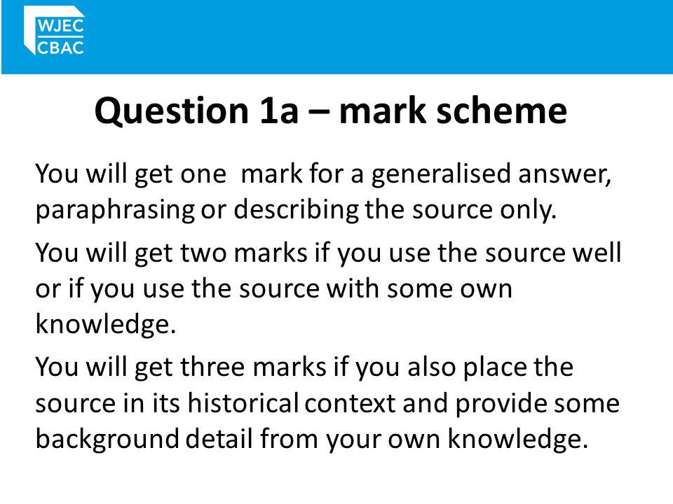Question 1a – mark scheme