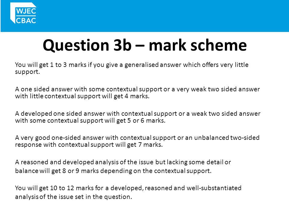 Question 3b – mark scheme