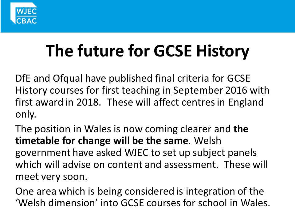 The future for GCSE History