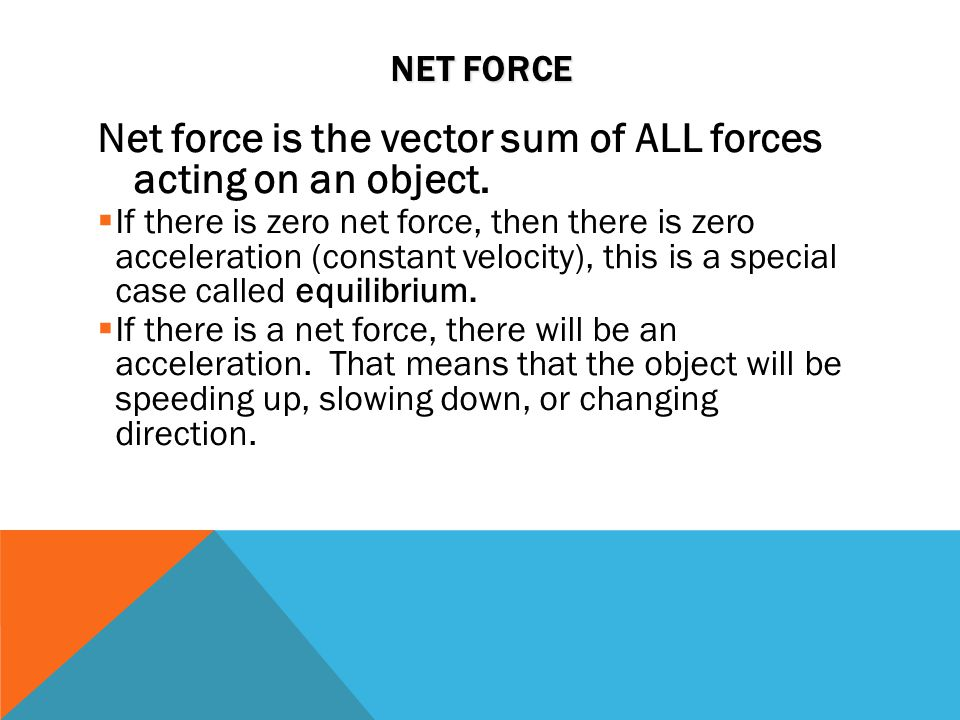 Net force is the vector sum of ALL forces acting on an object.