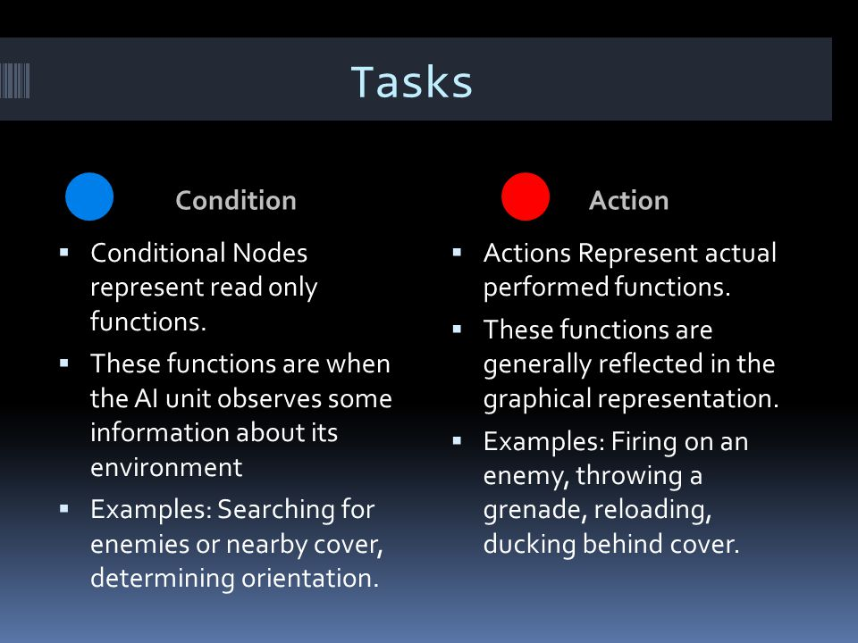 Tasks Condition Action