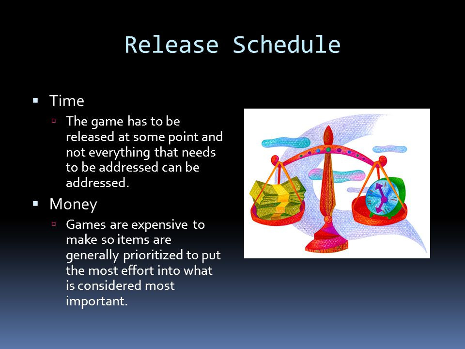 Release Schedule Time Money