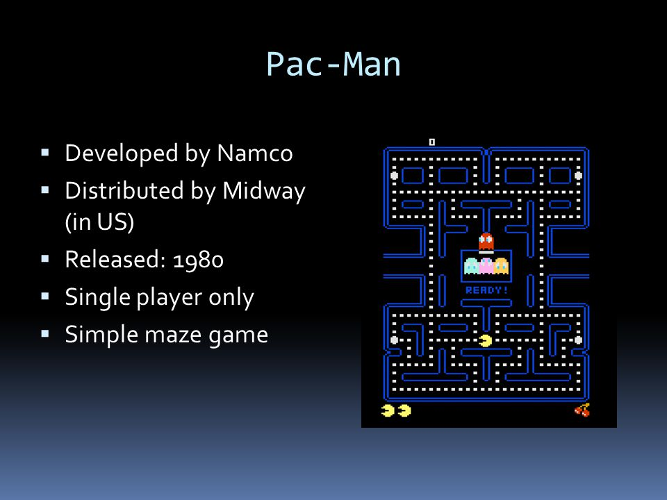 Pac-Man Developed by Namco Distributed by Midway (in US)