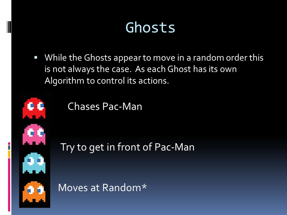 Ghosts Chases Pac-Man Try to get in front of Pac-Man Moves at Random*