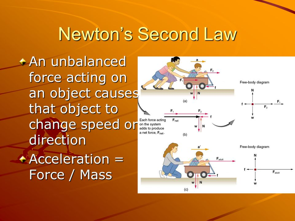Newton's Second Law An unbalanced force acting on an object causes that object to change speed or direction.