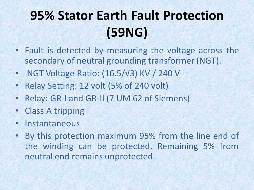 95% Stator Earth Fault Protection (59NG)