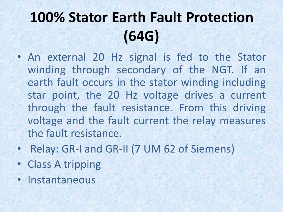 100% Stator Earth Fault Protection (64G)
