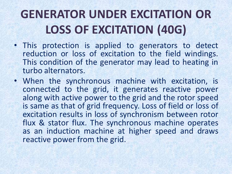 GENERATOR UNDER EXCITATION OR LOSS OF EXCITATION (40G)